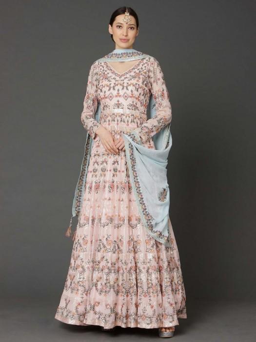 Latest Peach Wedding Wear Anarkali Suit