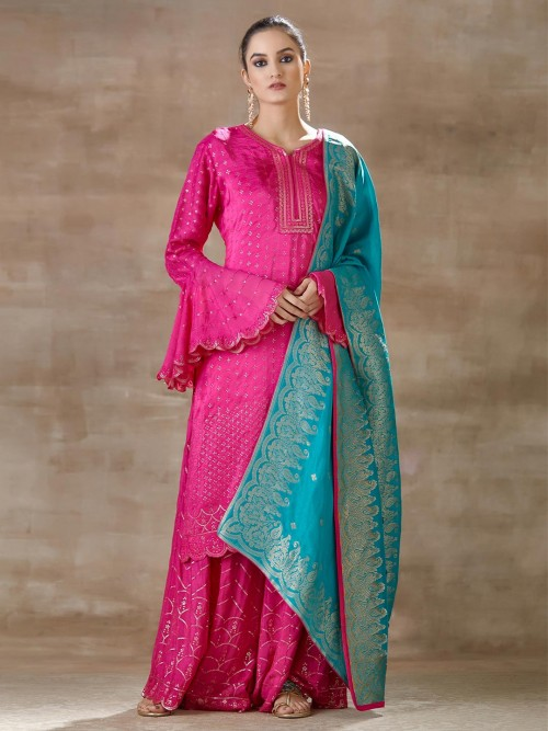 Latest Pink Palazzo Set For Party Look In Cotton