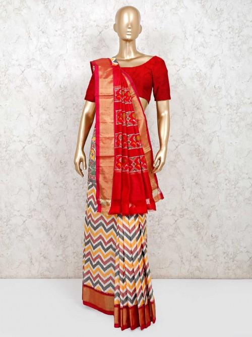 Latest Reception Wear White And Red Saree In Hydrabadi Patola Silk