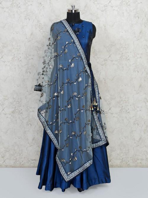 Latest Royal Blue Colour Wedding Anarkali