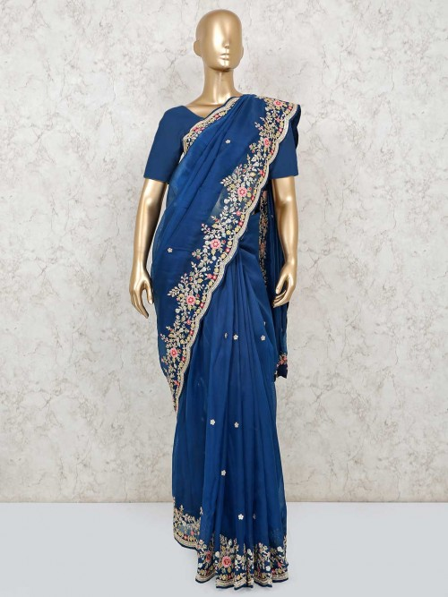 Latest Royal Blue Organza Tissue Wedding Wear Saree