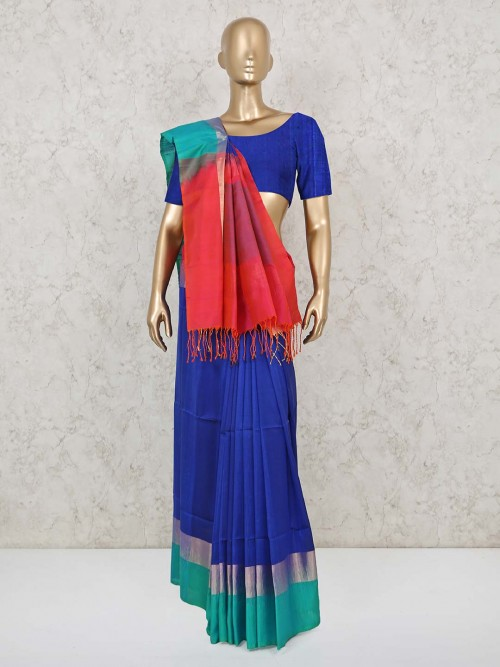 Latest Royal Blue Saree In South Pure For Reception