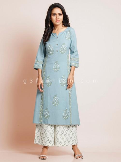 Latest Sky Blue Cotton Festive Wear Suit