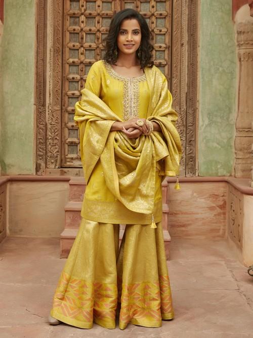 Latest Yellow Sharara Set For Wedding In Cotton Silk
