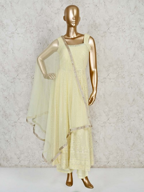 Lemon Yellow Georgette Anarkali Suit In Thread Work