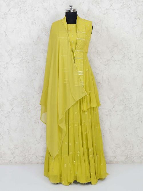 Lemon Yellow Lucknowi Anarkali Dress With Long Jacket