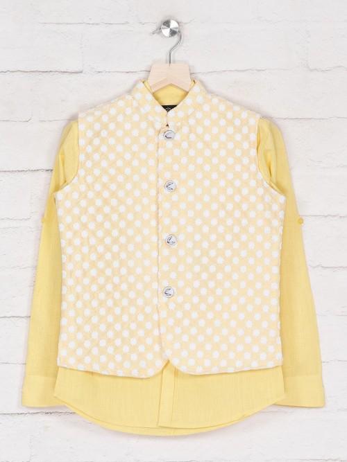 Lemon Yellow Party Wear Waistcoat Shirt For Boys