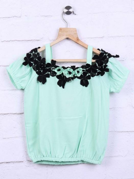 Leo N Babes Green Festive Cotton Top