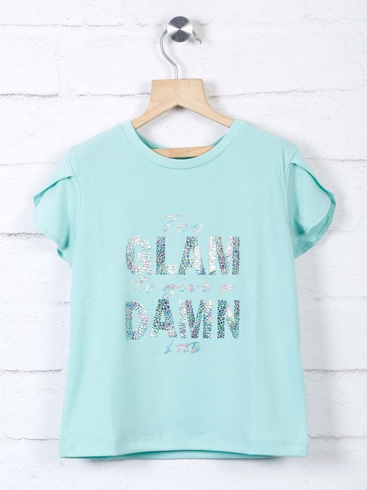 Leo N Babes Printed Aqua Top In Cotton