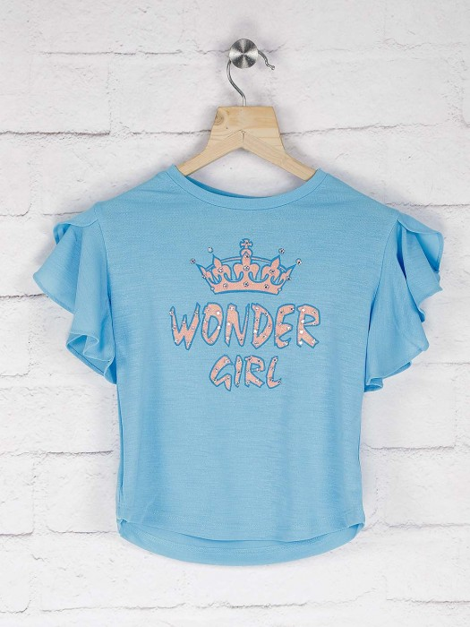 Leo N Babes Printed Blue Color Cotton Top
