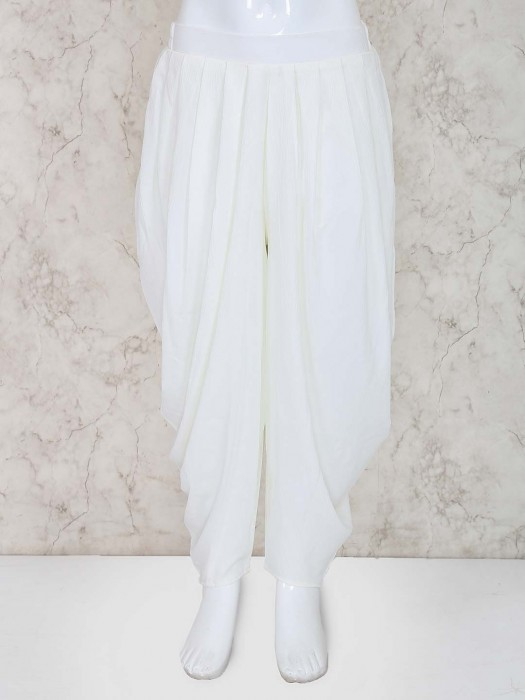 Leo N Babes White Hue Cotton Fabric Dhoti For Girls