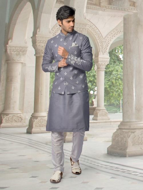 Letest Trend Grey Cotton Silk Waistcoat Set