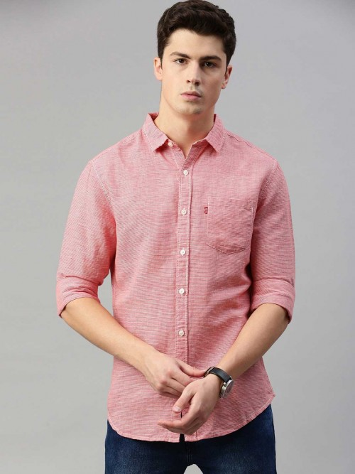 Levis Solid Pink Linen Slim Fit Shirt