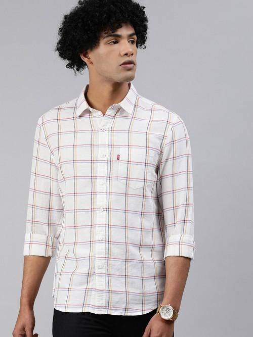 Levis White Checks Linen Classic Shirt