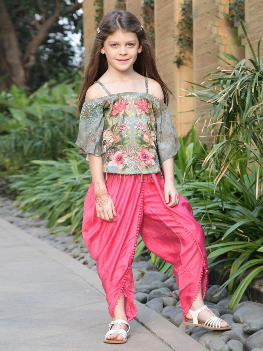 Light Blue And Magenta Hue Punjabi Dhoti Suit