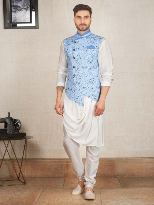 Light Blue And Off White Printed Waistcoat Set