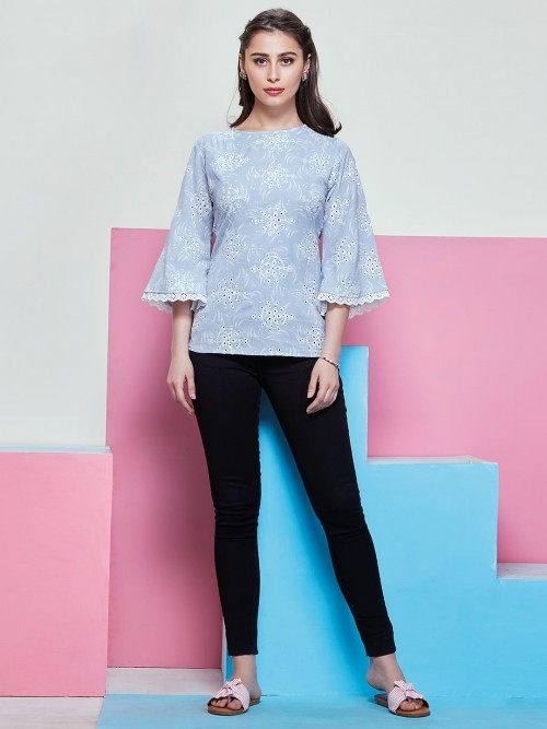 Light Blue Colered Top Comes With White Print And Chikankari Work