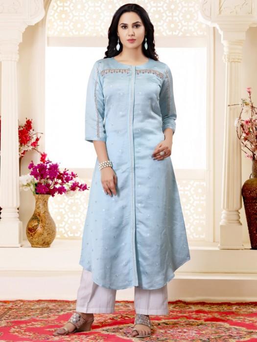 Light Blue Cotton Silk Festive Kurti
