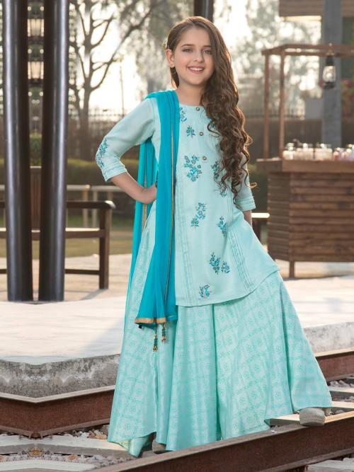 Light Blue Cotton Silk Festive Palazzo Suit