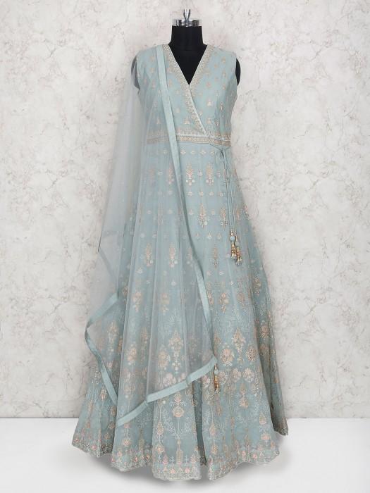 Light Blue Cotton Silk Floor Length Anarkali Suit