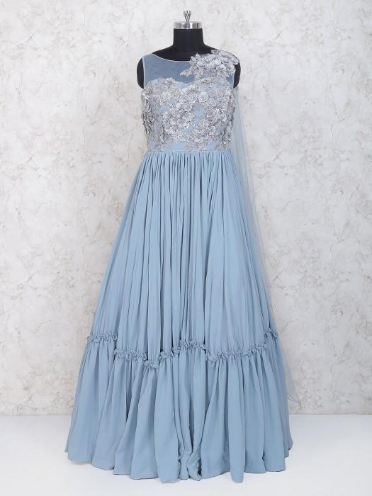 Light Blue Designer Anarkali Suit