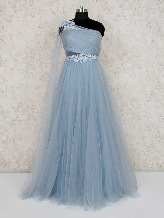 Light Blue Floor Length Designer Gown