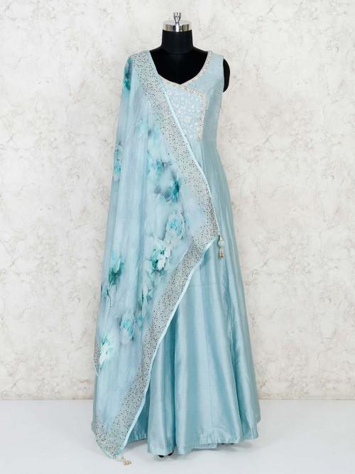 Light Blue Raw Silk Floor Length Anarkali Salwar Suit