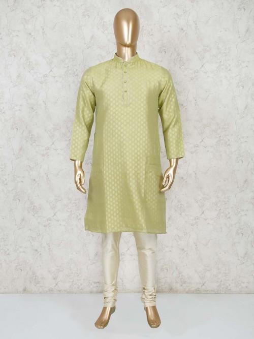 Light Green Cotton Festive Wear Mens Kurta Suit