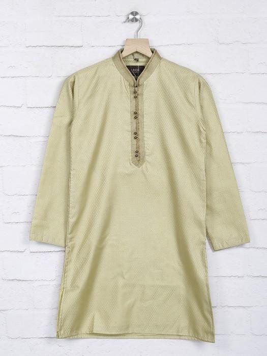 Light Green Cotton Vented Hem Kurta Suit