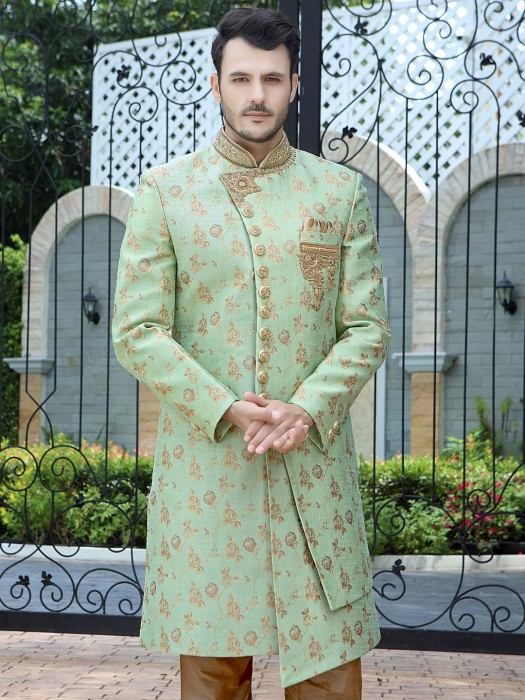 Light Green Designer Raw Silk Cut Style Indo Western
