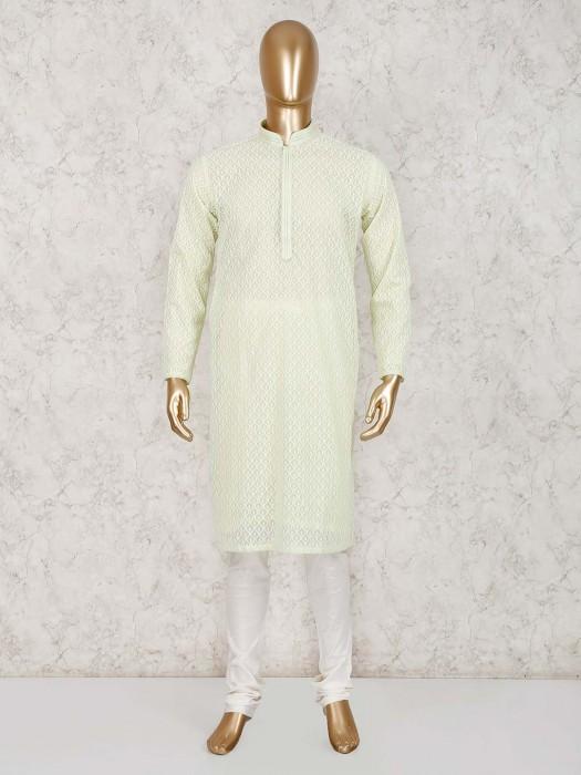 Light Green Festive Wear Cotton Kurta Suit