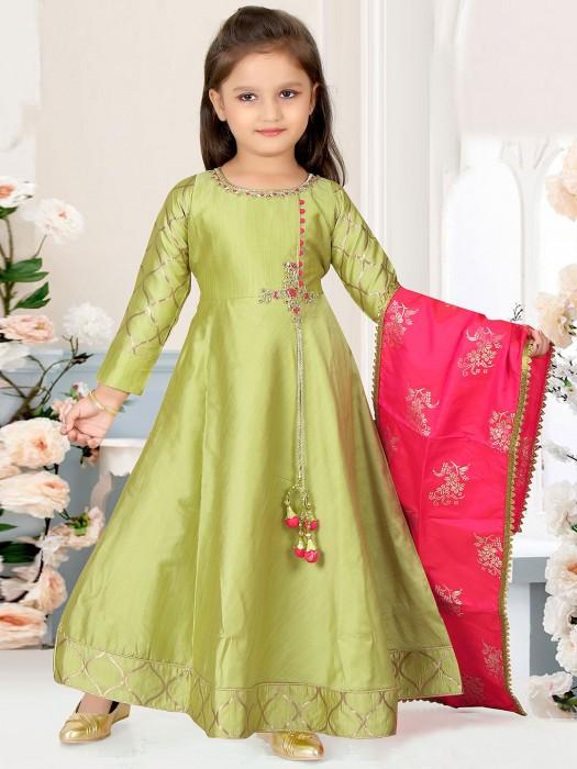 Light Green Floor Length Anarkali Suit