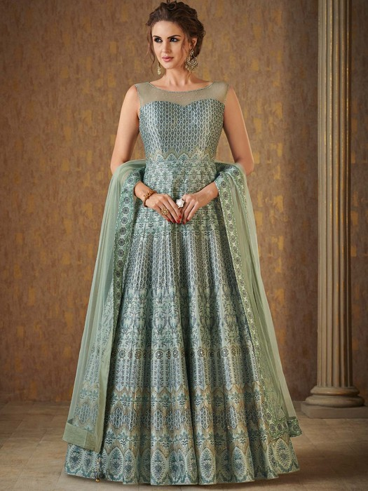 Light Green Floor Length Anarkali Suit For Festive Wear
