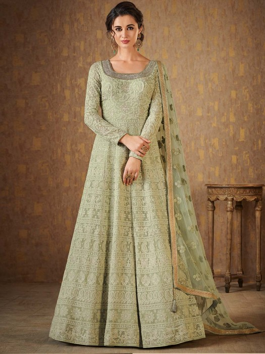 Light Green Georgette Anarkali Suit For Festive Wear