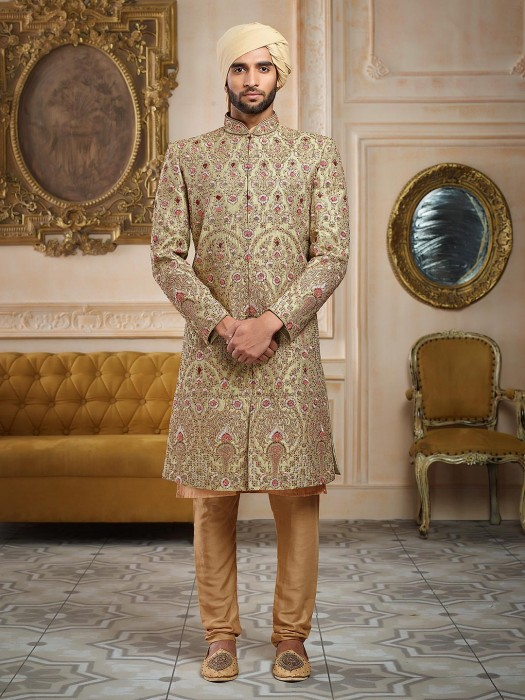 Light Green Groom Wear Sherwani