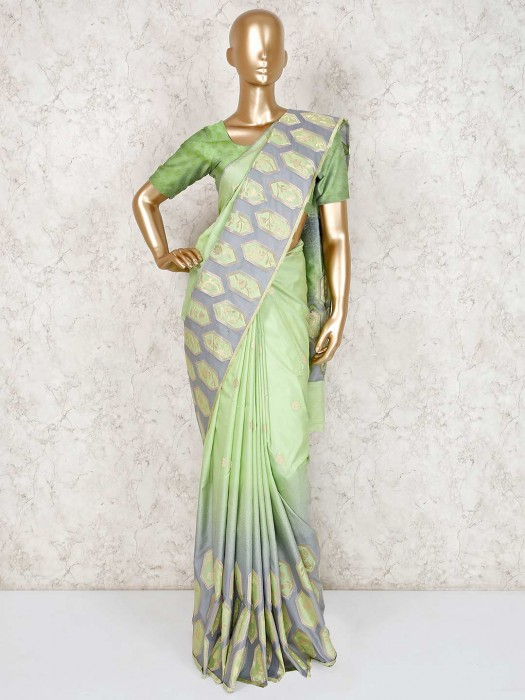 Light Green Semi Silk Saree For Reception