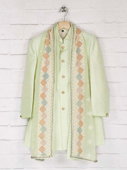 Light Green Solid Raw Silk Indo Western