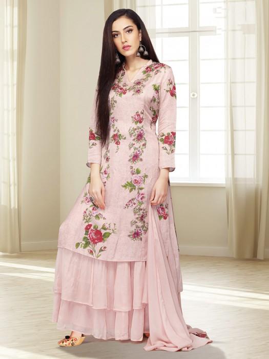 Light Pink Cotton Printed Sharara Suit