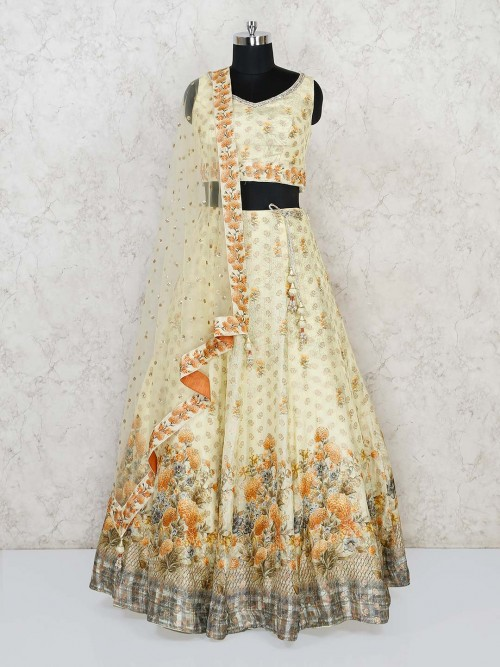Lime Yellow Designer Silk Wedding Lehenga Choli
