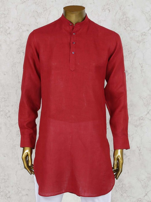 Linen Cotton Red Hued Cotton Short Pathani