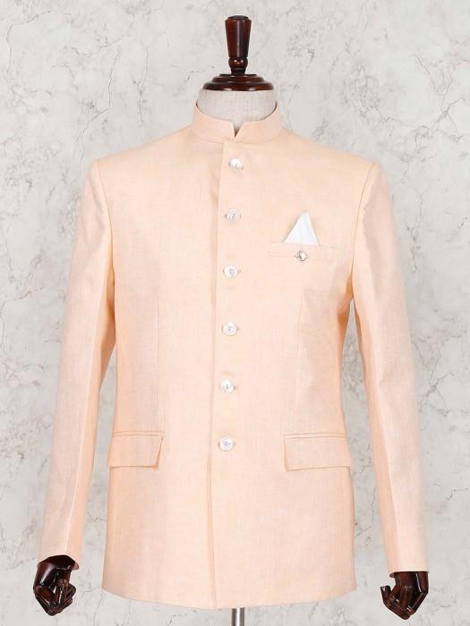 Linen Peach Party Wear Solid Jodhpuri Suit