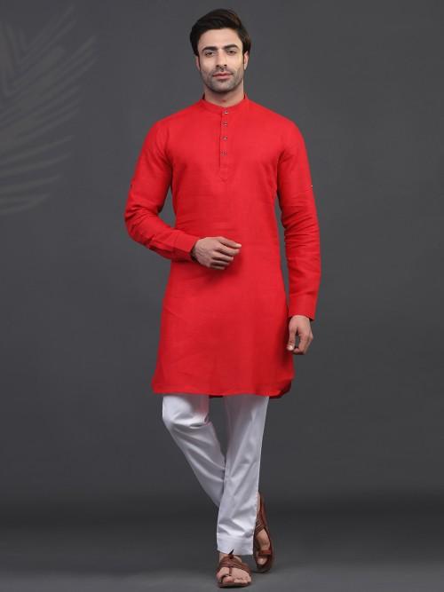 Linen Red Full Sleeve Kurta Suit