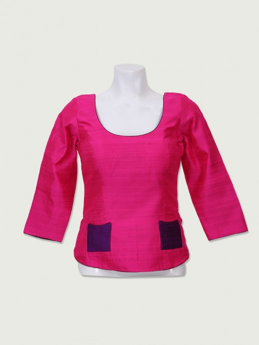 Long Magenta Color Ready Made Blouse