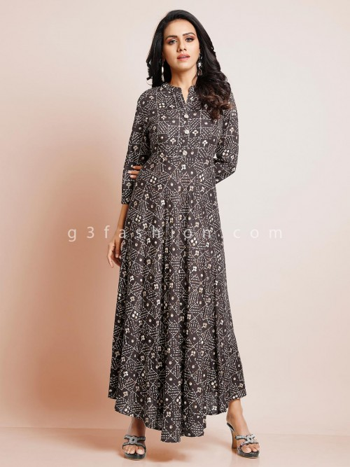 Long Printed Black Kurti In Cotton