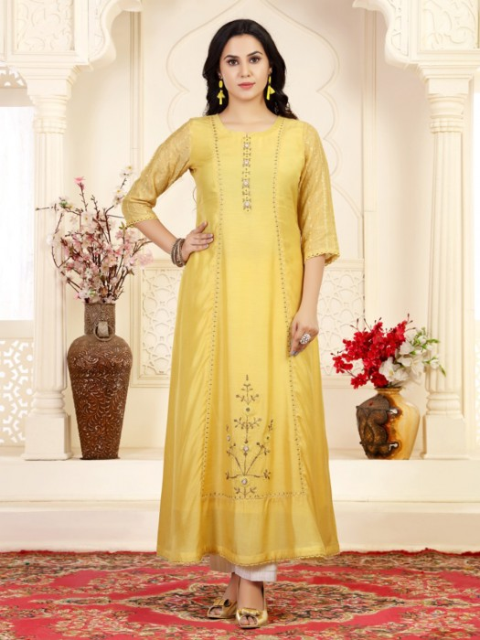 Long Yellow Cotton Silk Festive Kurti