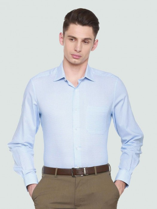 Louis Philippe Cotton Light Blue Printed Shirt