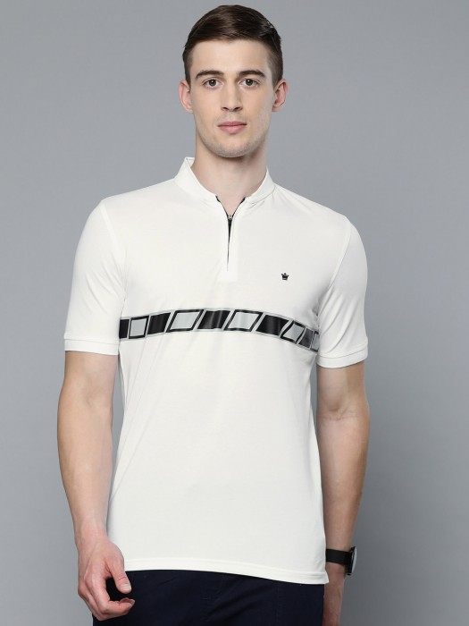 Louis Philippe White Solid Cotton T-shirt