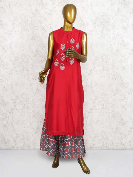 Lovely Red Color Kurti Set In Cotton