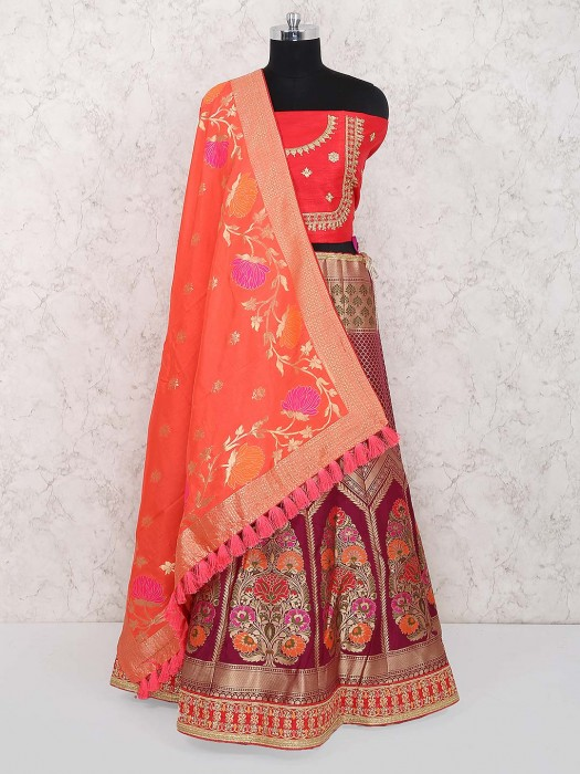 Lovely Red Color Semi Stitched Banarasi Silk Lehenga Choli