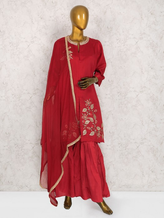 Lovely Red Designer Sharara Suit In Cotton Silk